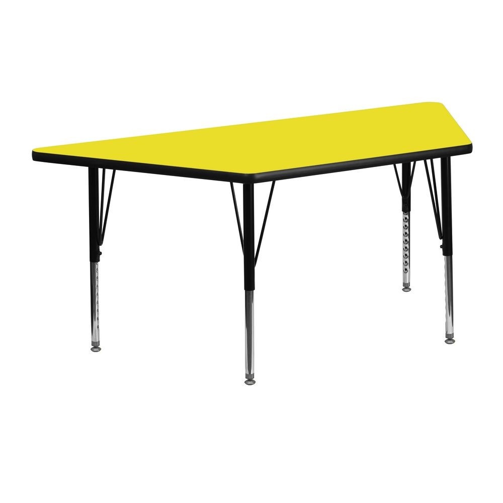 "Flash Furniture XU-A2448-TRAP-YEL-H-P-GG Trapezoid Activity Table with High Pressure Yellow Laminate Top, Height Adjustable Pre-School Legs 24"" x 48"""