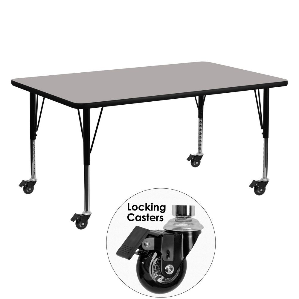 "Flash Furniture XU-A2460-REC-GY-H-P-CAS-GG Mobile Rectangular Activity Table with High Pressure Grey Laminate Top and Height Adjustable Pre-School Legs 24"" x 60"""