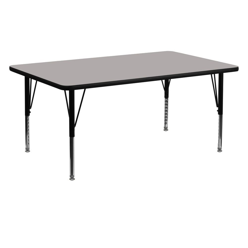 "Flash Furniture XU-A2460-REC-GY-H-P-GG Rectangular Activity Table, High Pressure Grey Laminate Top, Height Adjustable Pre-School Legs 24"" x 60"""