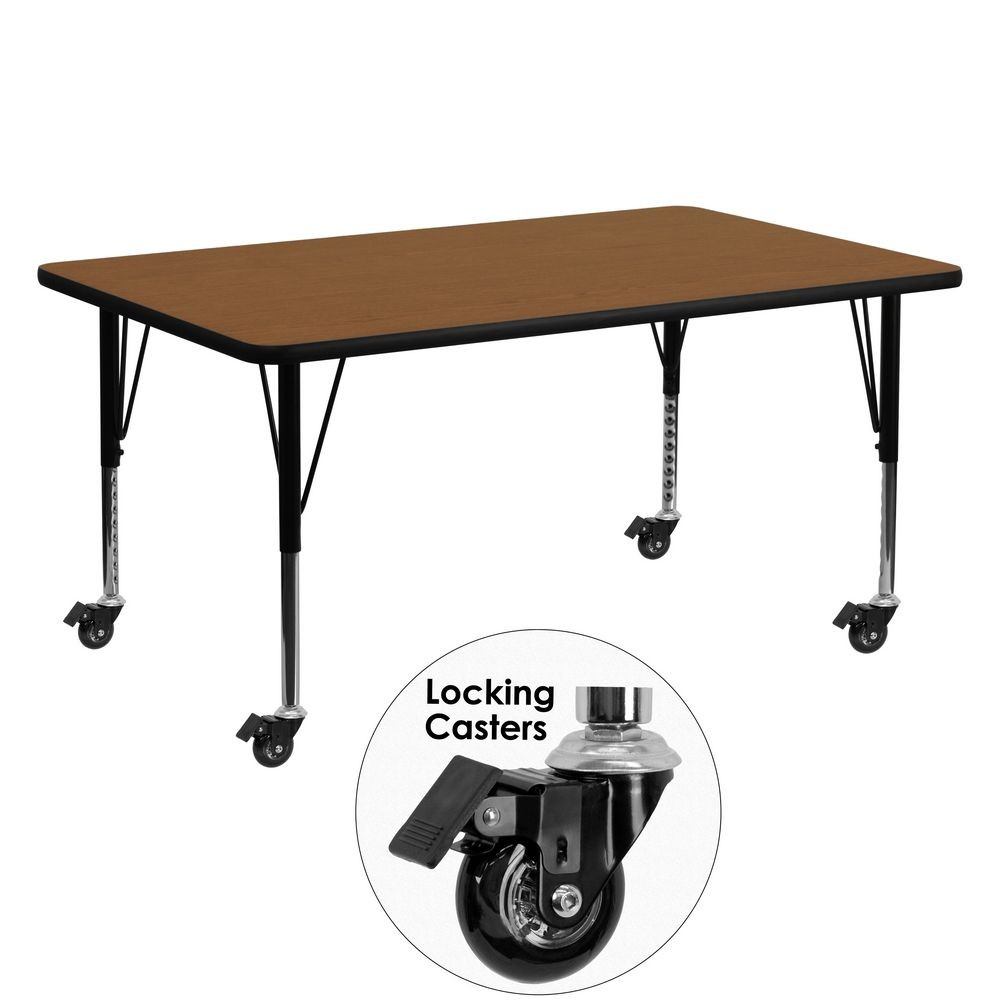 """Flash Furniture XU-A2460-REC-OAK-H-P-CAS-GG Mobile Rectangular Activity Table with High Pressure Oak Laminate Top and Height Adjustable Pre-School Legs 24"""" x 60"""""""