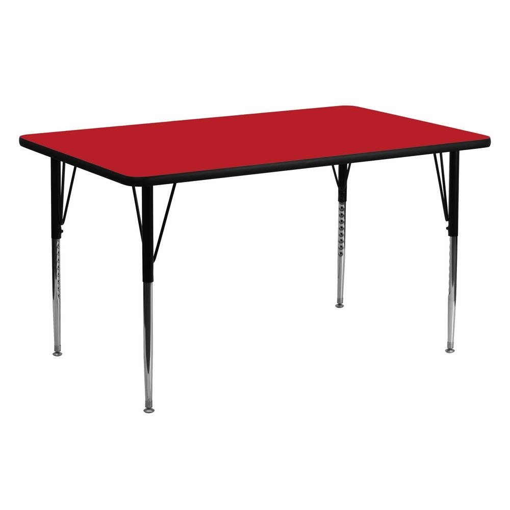 "Flash Furniture XU-A2460-REC-RED-H-A-GG Rectangular Activity Table, High Pressure Red Laminate Top, Standard Height Adjustable Legs 24"" x 60"""
