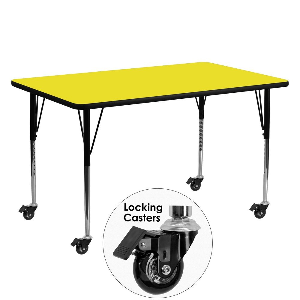"Flash Furniture XU-A2460-REC-YEL-H-A-CAS-GG Mobile Rectangular Activity Table with High Pressure Yellow Laminate Top, Standard Height Adjustable Legs 24"" x 60"""