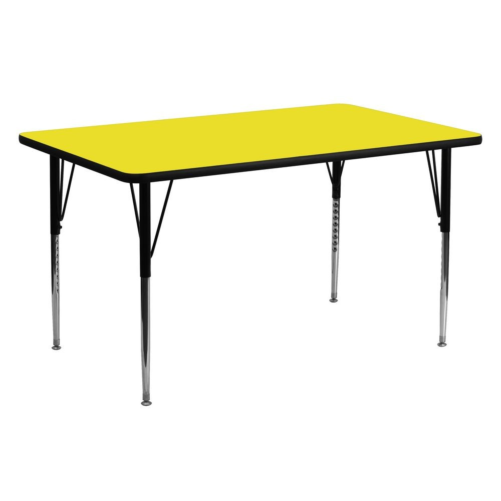 "Flash Furniture XU-A2460-REC-YEL-H-A-GG Rectangular Activity Table, High Pressure Yellow Laminate Top, Standard Height Adjustable Legs 24"" x 60"""