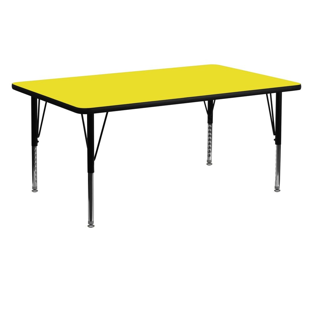 "Flash Furniture XU-A2460-REC-YEL-H-P-GG Rectangular Activity Table with High Pressure Yellow Laminate Top, Height Adjustable Pre-School Legs 24"" x 60"""