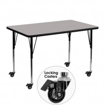 """Flash Furniture XU-A3048-REC-GY-H-A-CAS-GG Mobile Rectangular Activity Table with High Pressure Grey Laminate Top, Standard Height Adjustable Legs 30"""" x 48"""""""