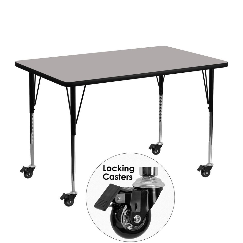 "Flash Furniture XU-A3048-REC-GY-H-A-CAS-GG Mobile 30"" x 48"" Rectangular Activity Table, High Pressure Grey Laminate Top, Standard Ht. Adjustable Legs"