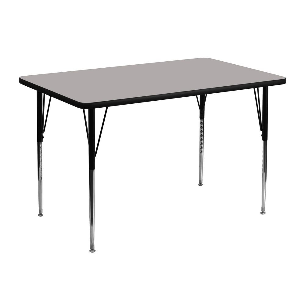 "Flash Furniture XU-A3048-REC-GY-H-A-GG Rectangular Activity Table, High Pressure Grey Laminate Top, Standard Height Adjustable Legs 30"" x 48"""