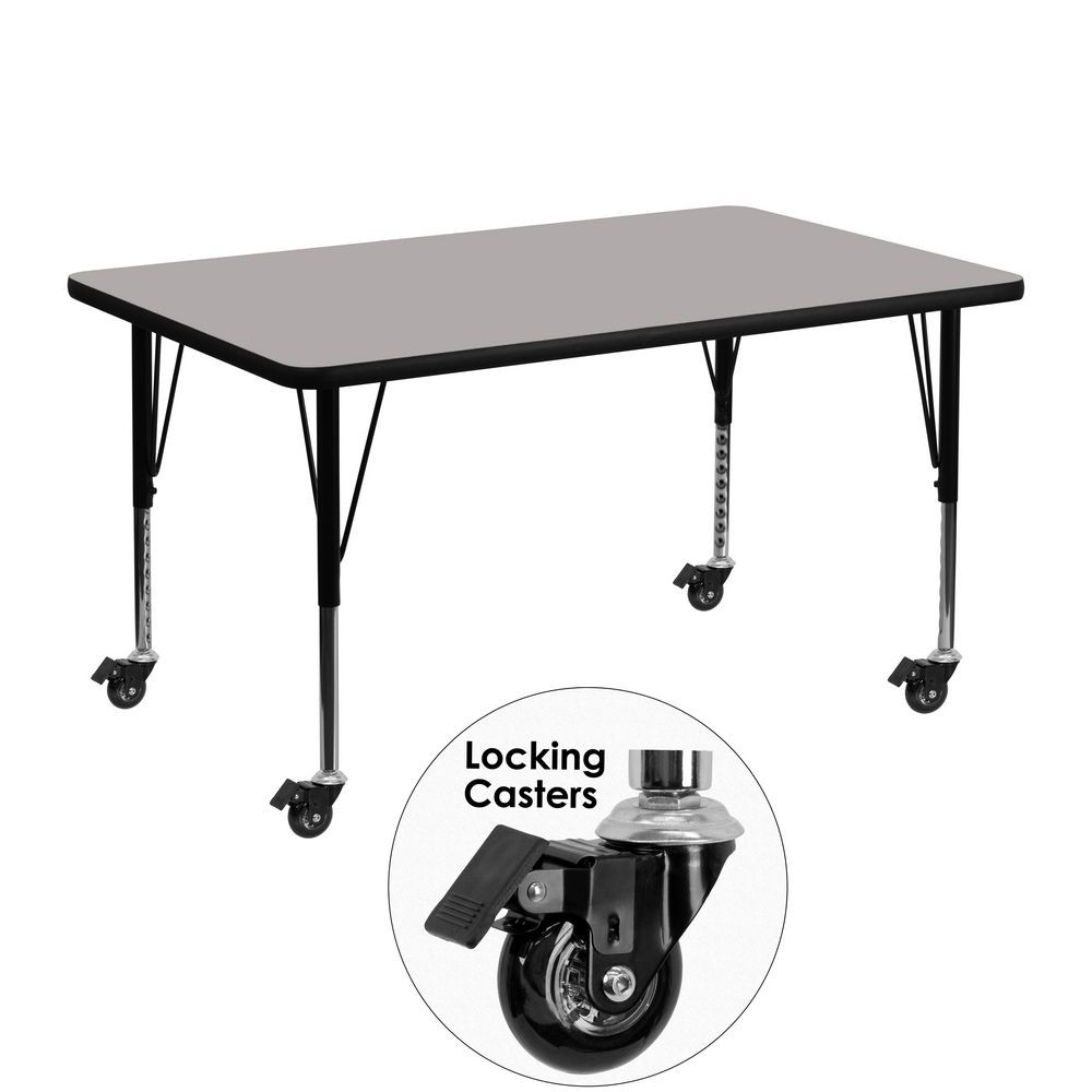 "Flash Furniture XU-A3048-REC-GY-H-P-CAS-GG Mobile Rectangular Activity Table with High Pressure Grey Laminate Top and Height Adjustable Pre-School Legs 30"" x 48"""