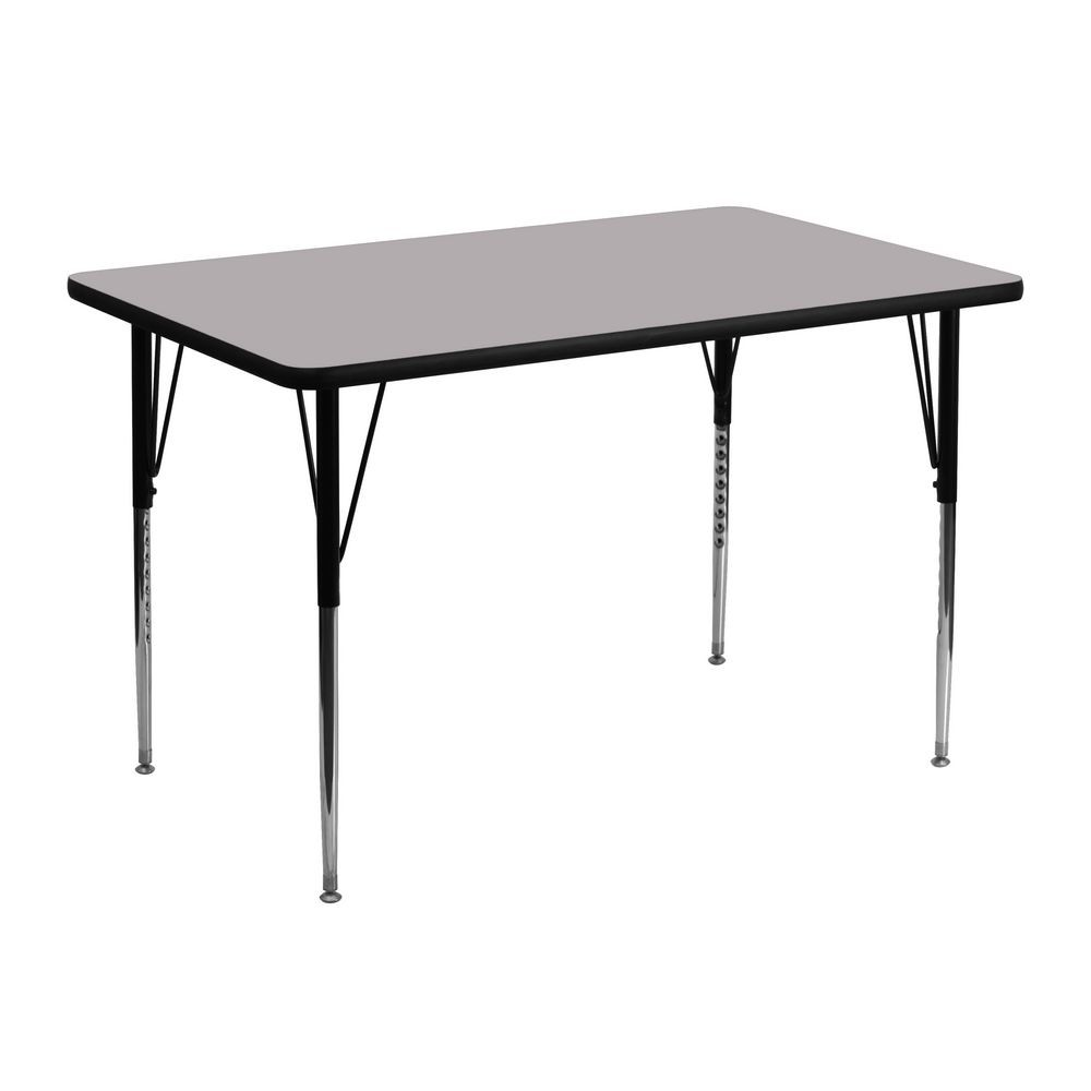 "Flash Furniture XU-A3048-REC-GY-T-A-GG Rectangular Activity Table with Grey Thermal Fused Laminate Top and Standard Height Adjustable Legs 30"" x 48"""