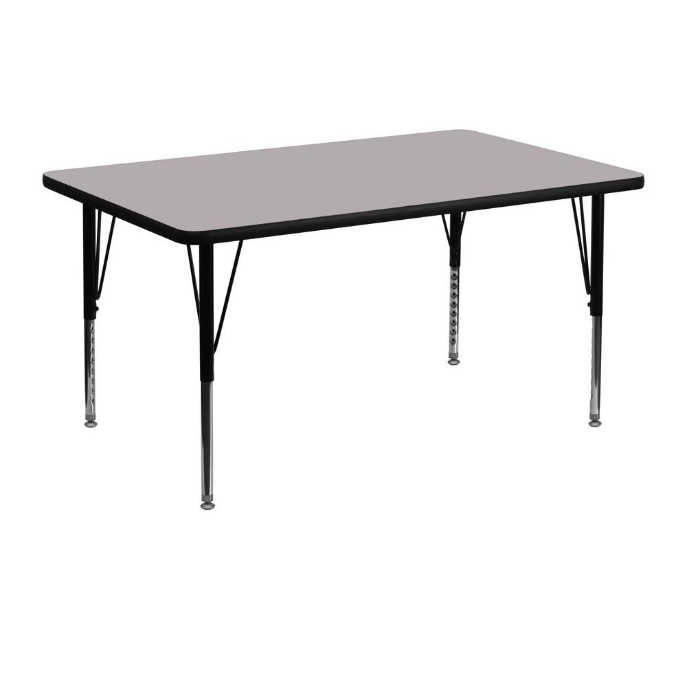 "Flash Furniture XU-A3048-REC-GY-T-P-GG Rectangular Activity Table with Grey Thermal Fused Laminate Top and Height Adjustable Pre-School Legs 30""x 48"""