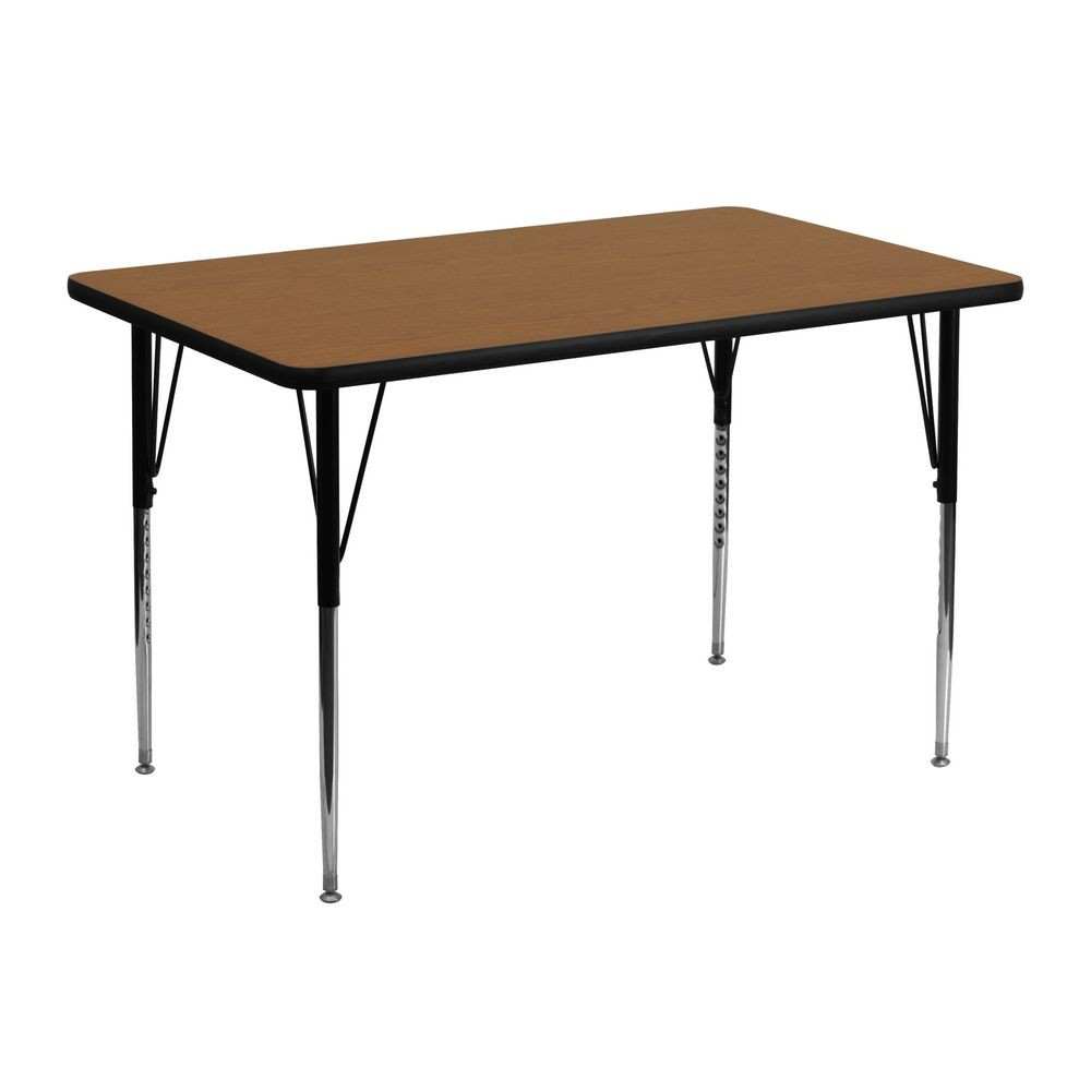 "Flash Furniture XU-A3048-REC-OAK-T-A-GG Rectangular Activity Table with Oak Thermal Fused Laminate Top and Standard Height Adjustable Legs 30"" x 48"""