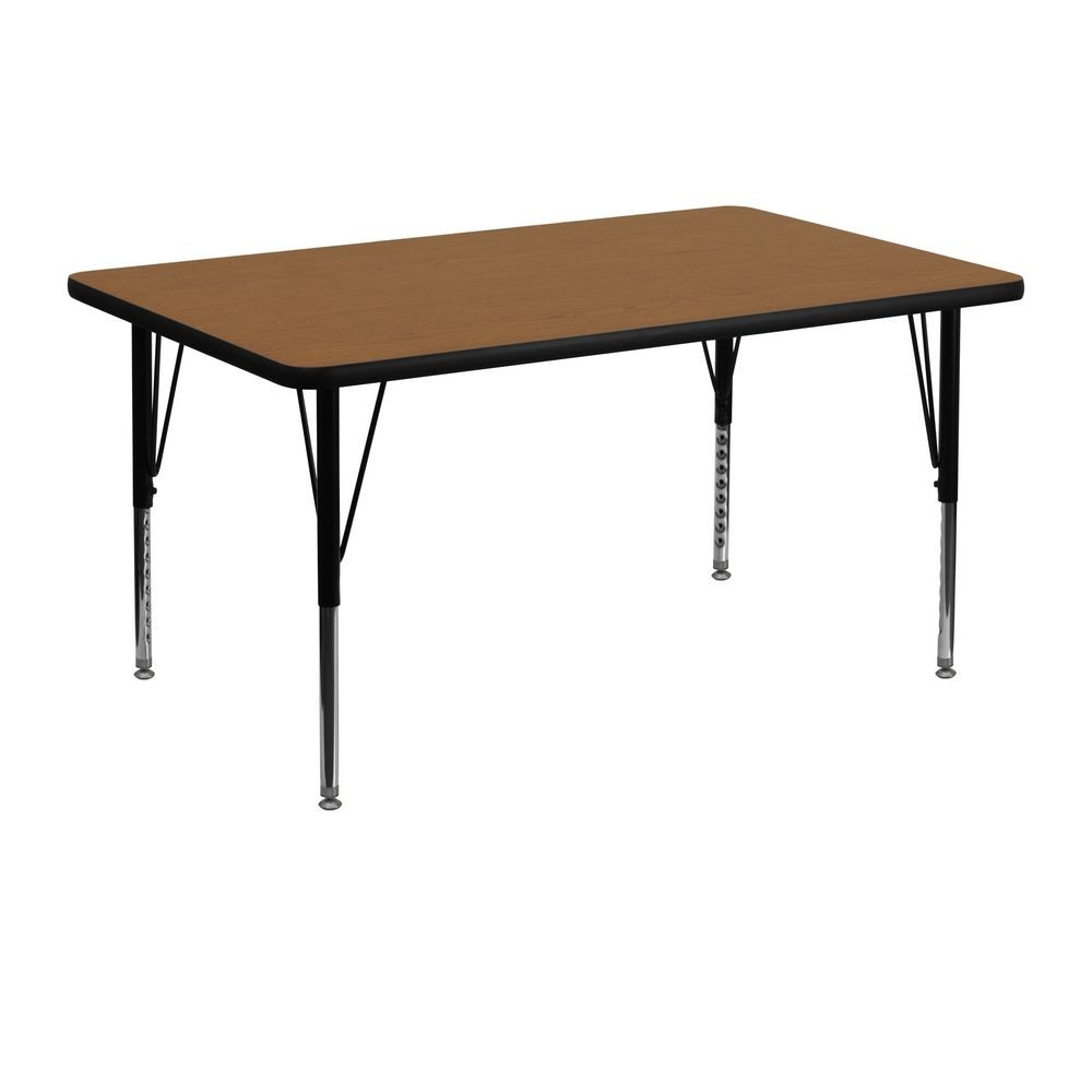 "Flash Furniture XU-A3048-REC-OAK-T-P-GG Rectangular Activity Table with Oak Thermal Fused Laminate Top and Height Adjustable Pre-School Legs 30"" x 48"""