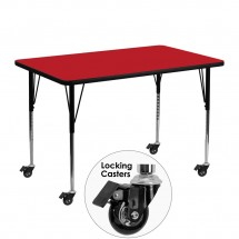 "Flash Furniture XU-A3048-REC-RED-H-A-CAS-GG Mobile Rectangular Activity Table, Red Laminate Top, Standard Height. Adjustable Legs 30"" x 48"""