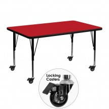 "Flash Furniture XU-A3048-REC-RED-H-P-CAS-GG Mobile Rectangular Activity Table with High Pressure Red Laminate Top and Height Adjustable Pre-School Legs 30"" x 48"""