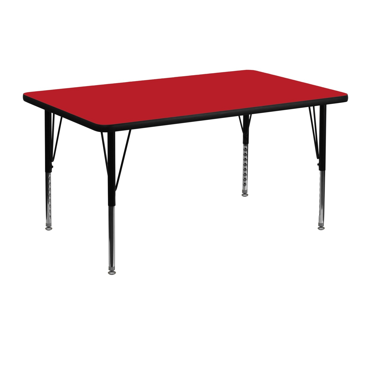 "Flash Furniture XU-A3048-REC-RED-H-P-GG Rectangular Activity Table with High Pressure Red Laminate Top, Height Adjustable Pre-School Legs 30"" x 48"""