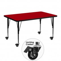 "Flash Furniture XU-A3048-REC-RED-T-P-CAS-GG Mobile Rectangular Activity Table with Red Thermal Fused Laminate Top and Height Adjustable Pre-School Legs 30"" x 48"""