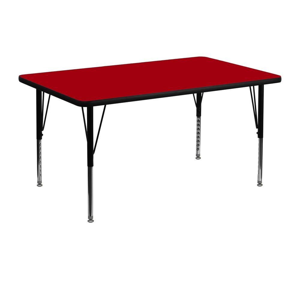 "Flash Furniture XU-A3048-REC-RED-T-P-GG Rectangular Activity Table with Red Thermal Fused Laminate Top and Height Adjustable Pre-School Legs 30"" x 48"""