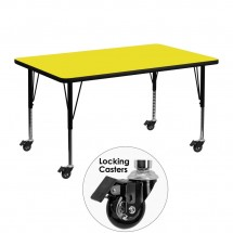 "Flash Furniture XU-A3048-REC-YEL-H-P-CAS-GG Mobile Rectangular Activity Table with High Pressure Yellow Laminate Top and Height Adjustable Pre-School Legs 30"" x 48"""