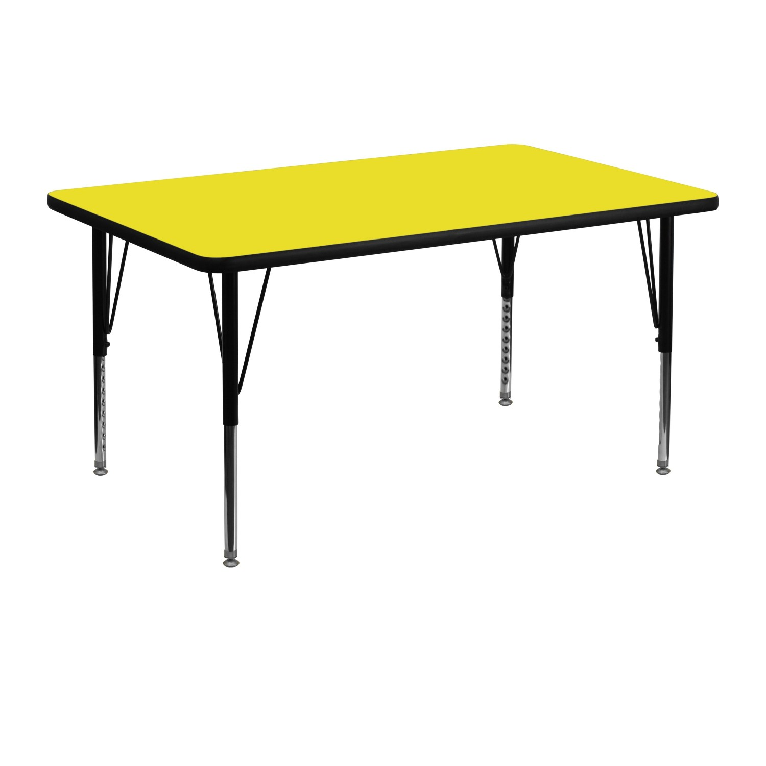 "Flash Furniture XU-A3048-REC-YEL-H-P-GG Rectangular Activity Table with High Pressure Yellow Laminate Top, Height Adjustable Pre-School Legs 30"" x 48"""
