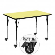"Flash Furniture XU-A3048-REC-YEL-T-A-CAS-GG Mobile Rectangular Activity Table with Yellow Thermal Fused Laminate Top, Standard Height Adjustable Legs 30"" x 48"""