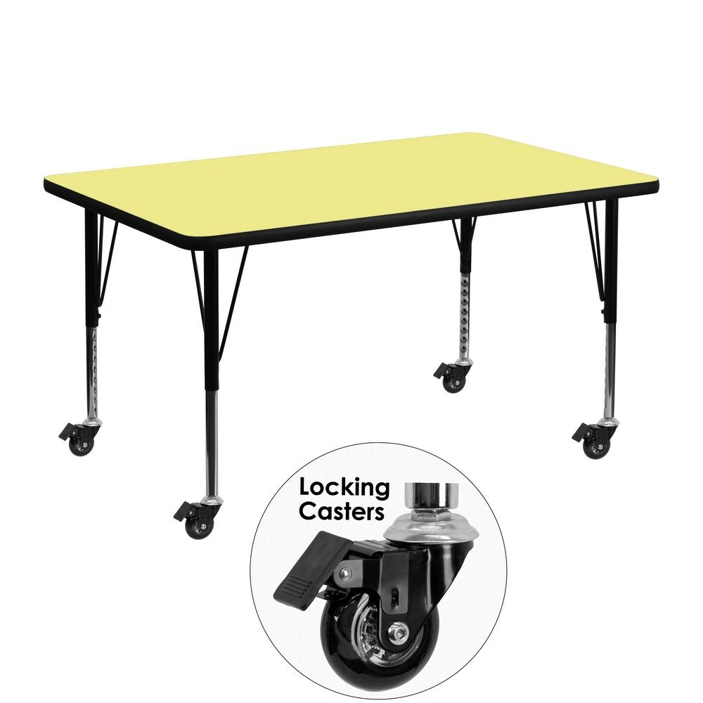 "Flash Furniture XU-A3048-REC-YEL-T-P-CAS-GG Mobile Rectangular Activity Table with Yellow Thermal Fused Laminate Top and Height Adjustable Pre-School Legs 30"" x 48"""