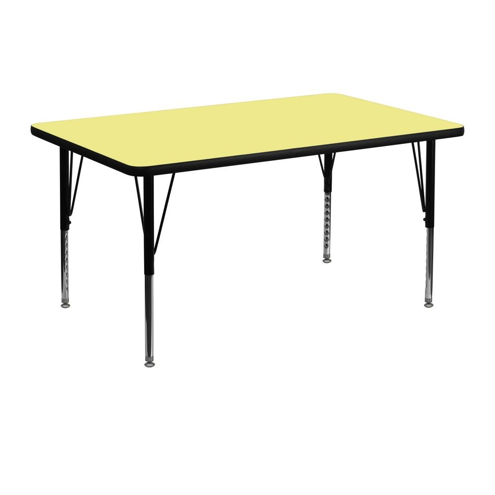 "Flash Furniture XU-A3048-REC-YEL-T-P-GG Rectangular Activity Table with Yellow Thermal Fused Laminate Top, Height Adjustable Pre-School Legs 30"" x 48"""
