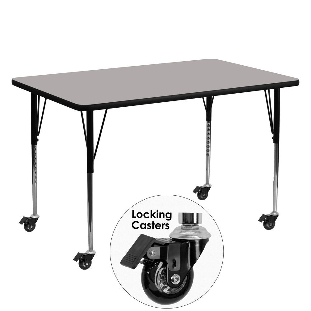 "Flash Furniture XU-A3060-REC-GY-H-A-CAS-GG Mobile Rectangular Activity Table with High Pressure Grey Laminate Top, Standard Height Adjustable Legs 30"" x 60"""