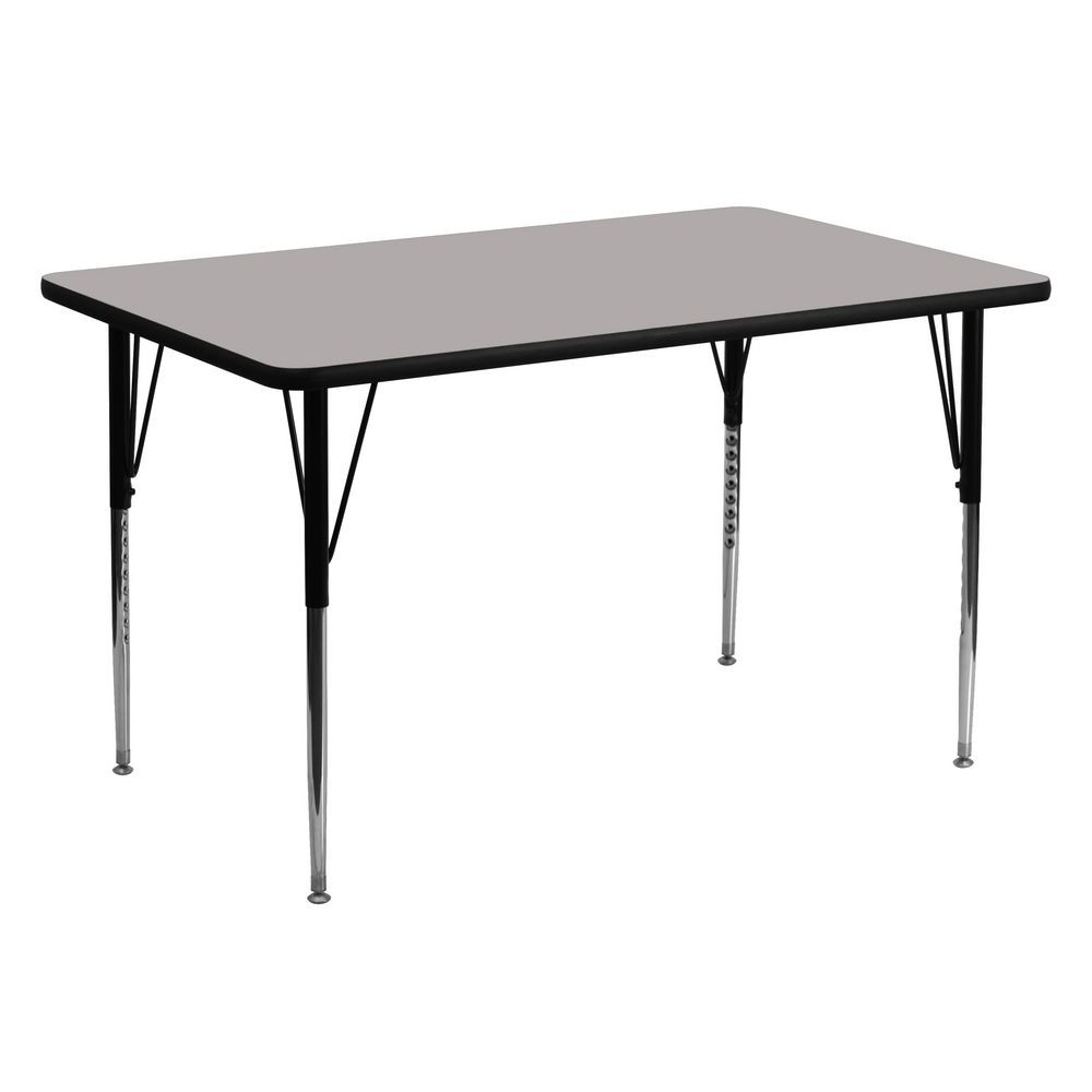 "Flash Furniture XU-A3060-REC-GY-H-A-GG Rectangular Activity Table with High Pressure Grey Laminate Top, Standard Height Adjustable Legs 30"" x 60"""