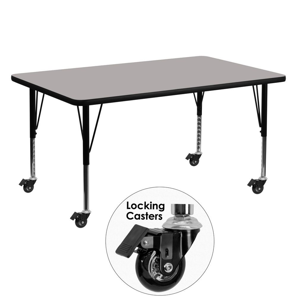 "Flash Furniture XU-A3060-REC-GY-H-P-CAS-GG Mobile Rectangular Activity Table with High Pressure Grey Laminate Top and Height Adjustable Pre-School Legs 30"" x 60"""