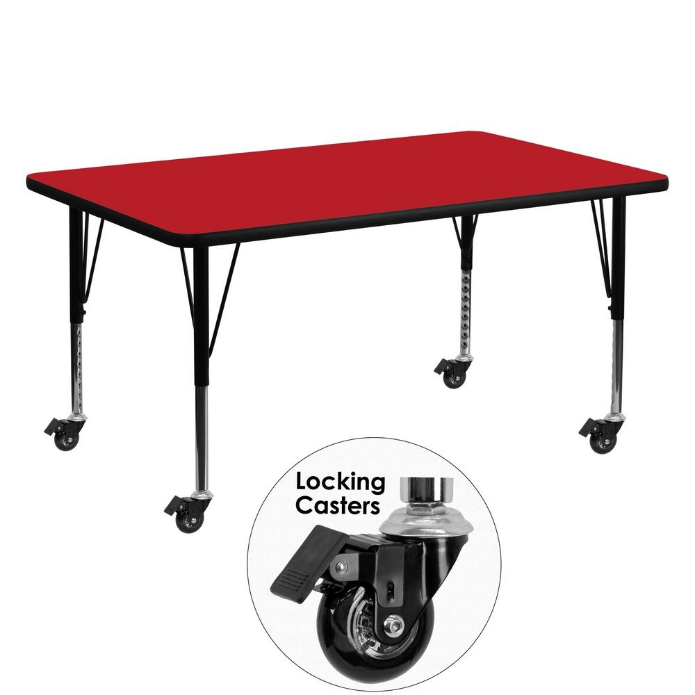 "Flash Furniture XU-A3060-REC-RED-H-P-CAS-GG Mobile Rectangular Activity Table with High Pressure Red Laminate Top and Height Adjustable Pre-School Legs 30"" x 60"""