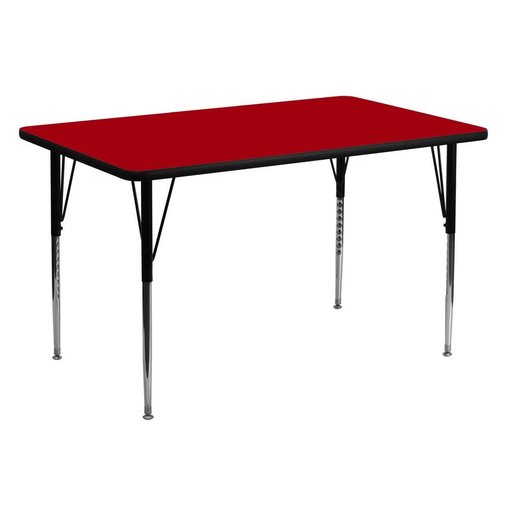 "Flash Furniture XU-A3060-REC-RED-T-A-GG Rectangular Activity Table with Red Thermal Fused Laminate Top and Standard Height Adjustable Legs 30"" x 60"""