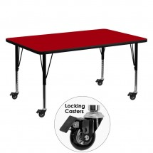 "Flash Furniture XU-A3060-REC-RED-T-P-CAS-GG Mobile Rectangular Activity Table with Red Thermal Fused Laminate Top and Height Adjustable Pre-School Legs 30"" x 60"""