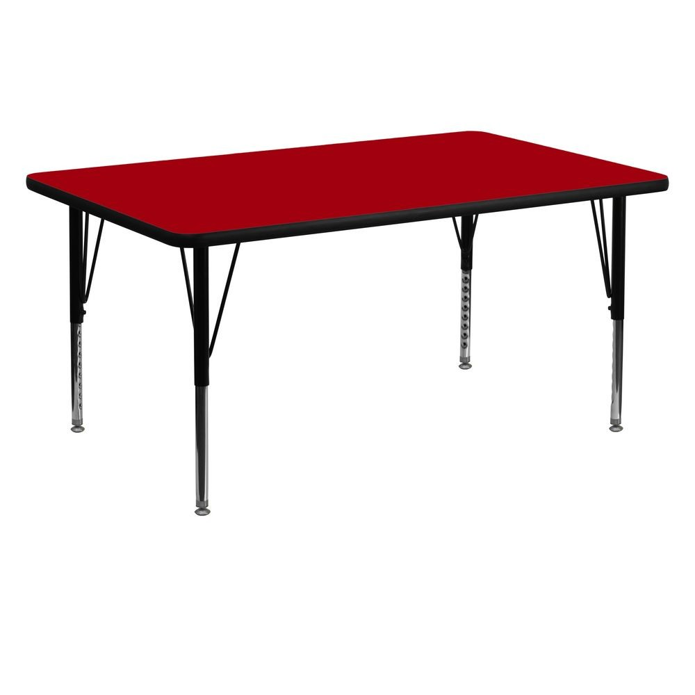"Flash Furniture XU-A3060-REC-RED-T-P-GG Rectangular Activity Table with Red Thermal Fused Laminate Top and Height Adjustable Pre-School Legs 30"" x 60"""