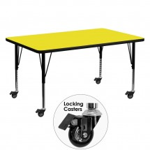 """Flash Furniture XU-A3060-REC-YEL-H-P-CAS-GG Mobile Rectangular Activity Table with High Pressure Yellow Laminate Top and Height Adjustable Pre-School Legs 30"""" x 60"""""""