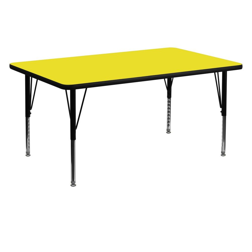 "Flash Furniture XU-A3060-REC-YEL-H-P-GG Rectangular Activity Table with High Pressure Yellow Laminate Top, Height Adjustable Pre-School Legs 30"" x 60"""