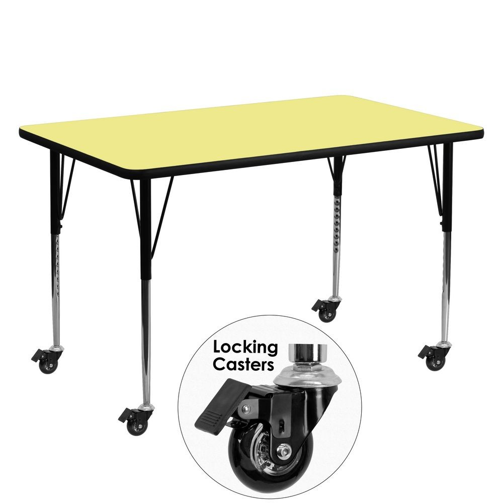 "Flash Furniture XU-A3060-REC-YEL-T-A-CAS-GG Mobile Rectangular Activity Table with Yellow Thermal Fused Laminate Top, Standard Height Adjustable Legs 30"" x 60"""