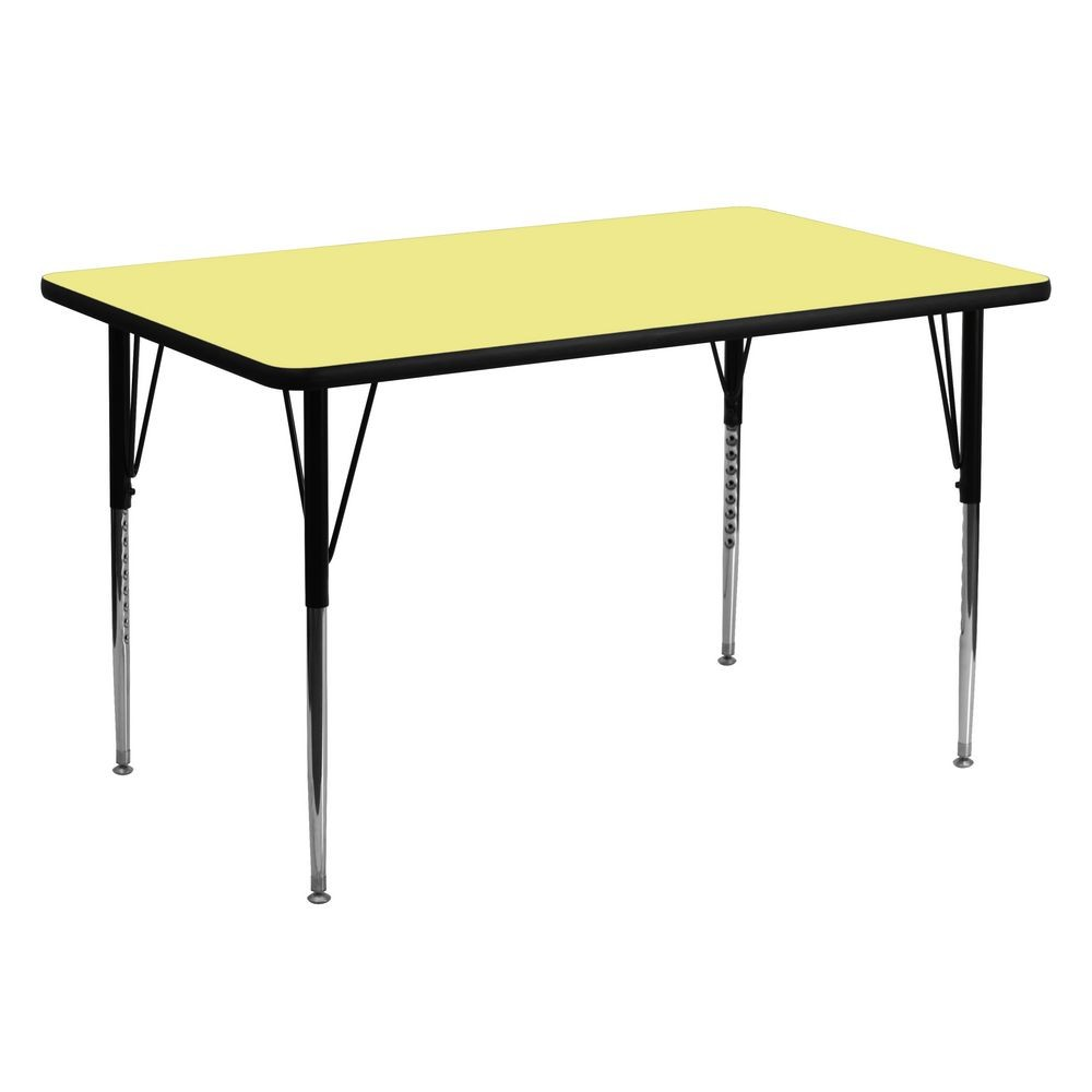 "Flash Furniture XU-A3060-REC-YEL-T-A-GG Rectangular Activity Table with Yellow Thermal Fused Laminate Top and Standard Height Adjustable Legs 30"" x 60"""