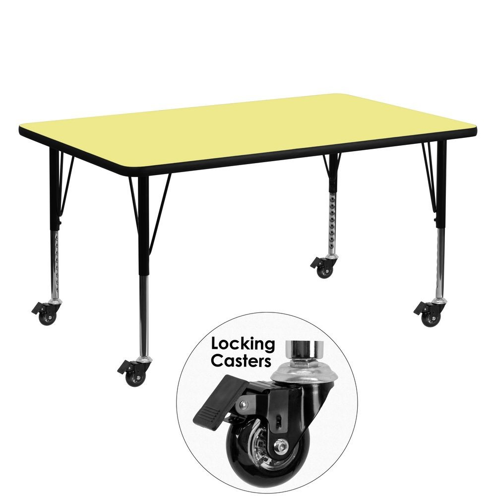 "Flash Furniture XU-A3060-REC-YEL-T-P-CAS-GG Mobile Rectangular Activity Table with Yellow Thermal Fused Laminate Top and Height Adjustable Pre-School Legs 30"" x 60"""