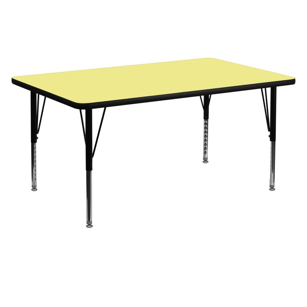 "Flash Furniture XU-A3060-REC-YEL-T-P-GG Rectangular Activity Table with Yellow Thermal Fused Laminate Top, Height Adjustable Pre-School Legs 30"" x 60"""