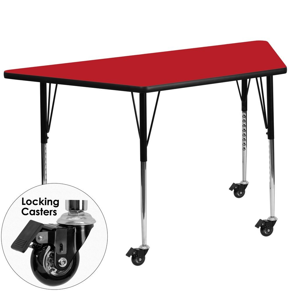"Flash Furniture XU-A3060-TRAP-RED-H-A-CAS-GG Mobile Trapezoid Activity Table with High Pressure Red Laminate Top, Standard Height Adjustable Legs 30"" x 60"""