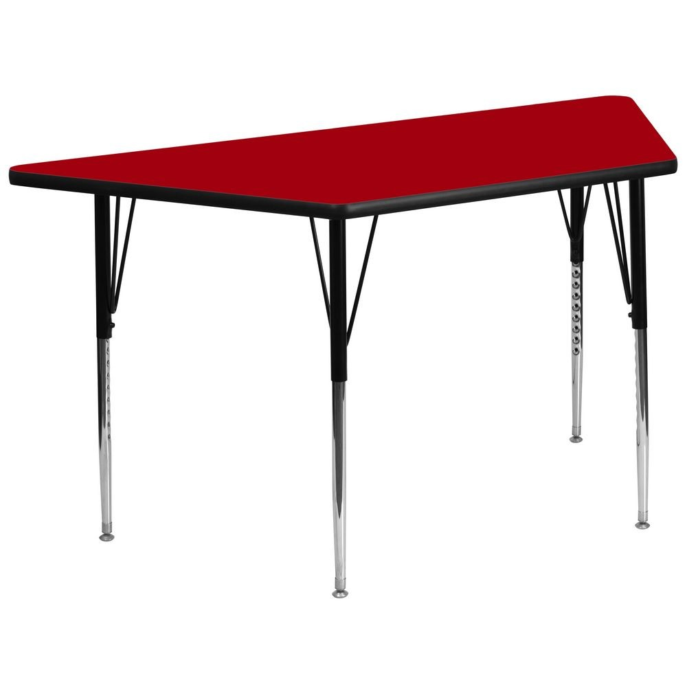 "Flash Furniture XU-A3060-TRAP-RED-T-A-GG Trapezoid Activity Table with Red Thermal Fused Laminate Top and Standard Height Adjustable Legs 30"" x 60"""