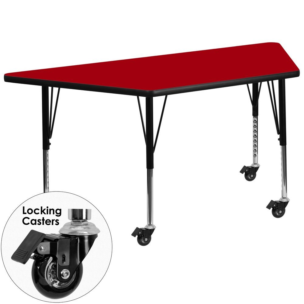 "Flash Furniture XU-A3060-TRAP-RED-T-P-CAS-GG Mobile Trapezoid Activity Table with Red Thermal Fused Laminate Top and Height Adjustable Pre-School Legs 30"" x 60"""
