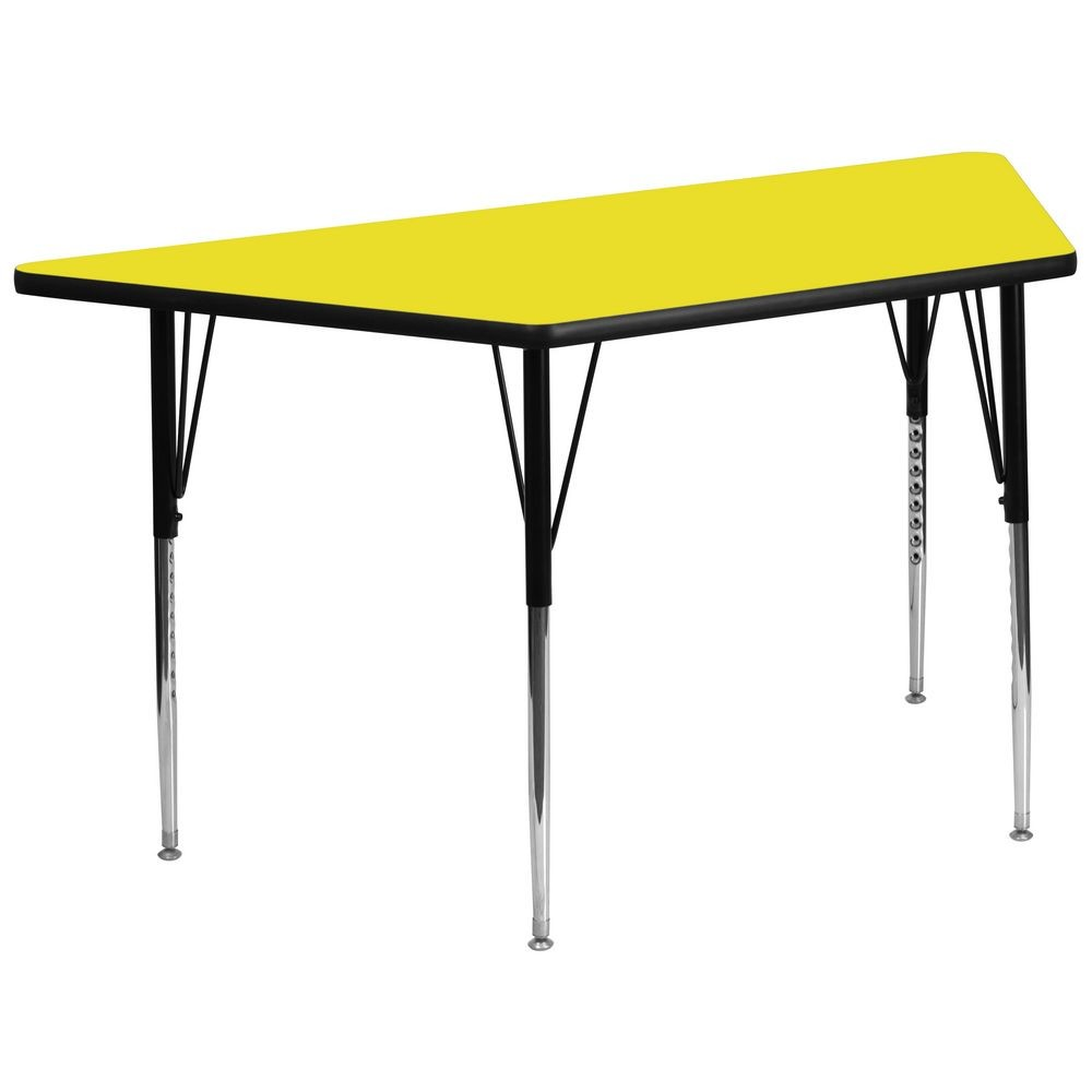 "Flash Furniture XU-A3060-TRAP-YEL-H-A-GG Trapezoid Activity Table with High Pressure Yellow Laminate Top, Standard Height Adjustable Legs 30"" x 60"""