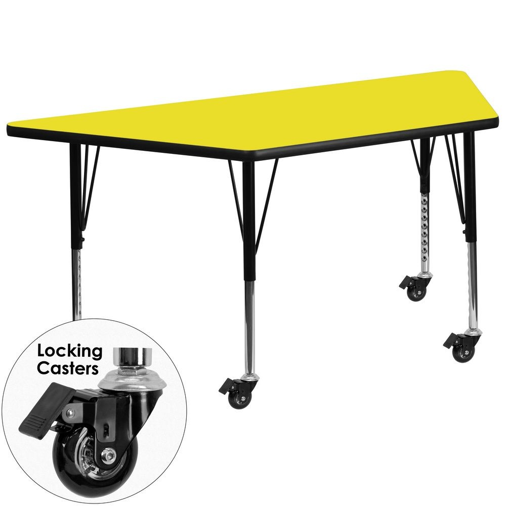 "Flash Furniture XU-A3060-TRAP-YEL-H-P-CAS-GG Mobile 30"" x 60"" Trapezoid Activity Table, High Pressure Yellow Laminate Top, Ht. Adjustable Pre-School Legs"