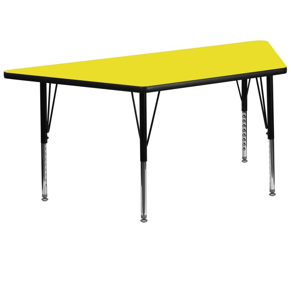 "Flash Furniture XU-A3060-TRAP-YEL-H-P-GG Trapezoid Activity Table, High Pressure Yellow Laminate Top, Height Adjustable Pre-School Legs 30"" x 60"""