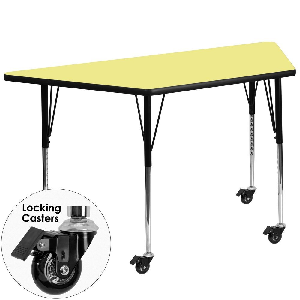 "Flash Furniture XU-A3060-TRAP-YEL-T-A-CAS-GG Mobile Trapezoid Activity Table with Yellow Thermal Fused Laminate Top, Standard Height Adjustable Legs 30"" x 60"""