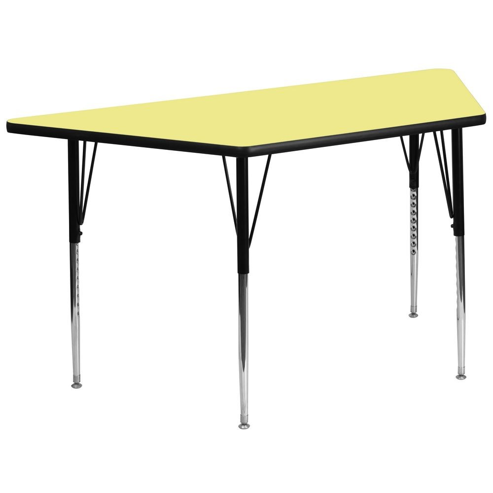"Flash Furniture XU-A3060-TRAP-YEL-T-A-GG Trapezoid Activity Table with Yellow Thermal Fused Laminate Top and Standard Height Adjustable Legs 30"" x 60"""
