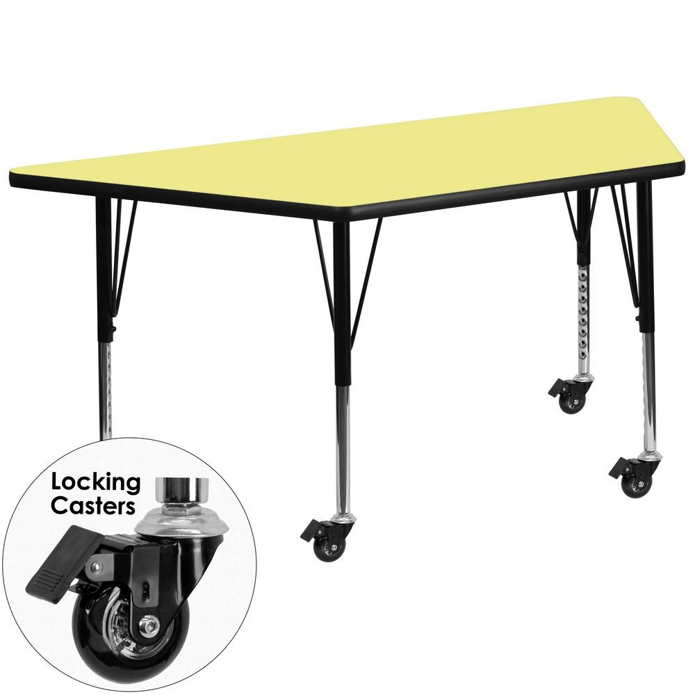 "Flash Furniture XU-A3060-TRAP-YEL-T-P-CAS-GG Mobile Trapezoid Activity Table with Yellow Thermal Fused Laminate Top and Height Adjustable Pre-School Legs 30"" x 60"""