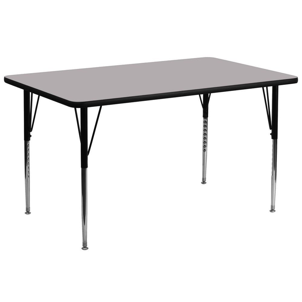 "Flash Furniture XU-A3072-REC-GY-T-A-GG Rectangular Activity Table with Grey Thermal Fused Laminate Top and Standard Height Adjustable Legs 30"" x 72"""