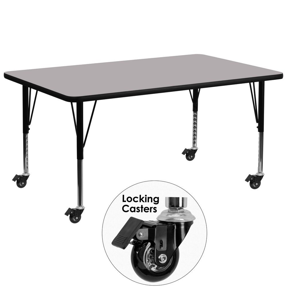 "Flash Furniture XU-A3072-REC-GY-T-P-CAS-GG Mobile 30"" x 72"" Rectangular Activity Table, Grey Thermal Fused Laminate Top, Ht. Adjustable Pre-School Legs"